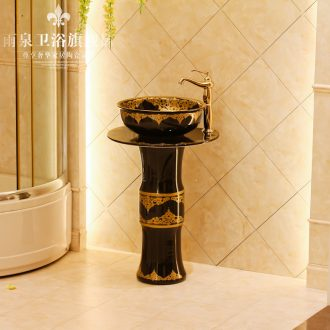 Jingdezhen art lavatory basin sink the post column basin conjoined one-piece lavatory basin ceramics