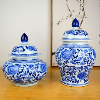Jingdezhen ceramics pot cover Chinese blue and white porcelain vase general sitting room porch home furnishing articles