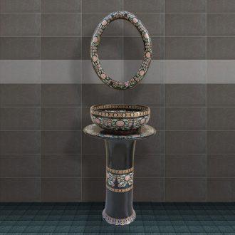 JingYuXuan royal customs jingdezhen ceramic black pillar three-piece art basin of the basin that wash a face
