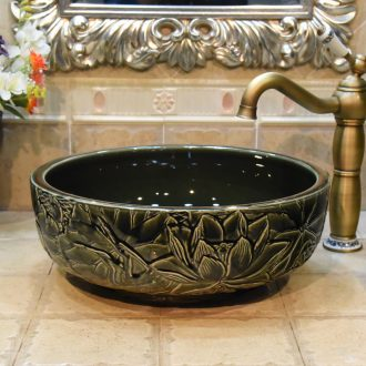 JingYuXuan blackish green deep carved lotus of jingdezhen ceramic art basin bathroom restoring ancient ways the basin that wash a face hand wash basin