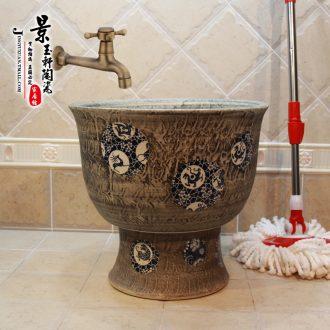 Jingdezhen ceramic JingYuXuan imitation ice plum lime beast art porcelain pieces of fission mop pool mop pool mop bucket