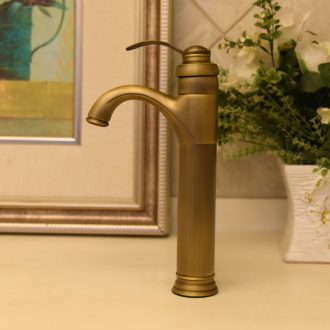 Jingdezhen JingYuXuan art basin fittings hot and cold tap vertical seated antique copper tap 6006