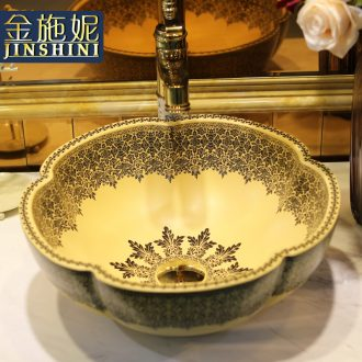 Gold cellnique ceramic art basin sinks home outfit petals sink European petals of the basin that wash a face