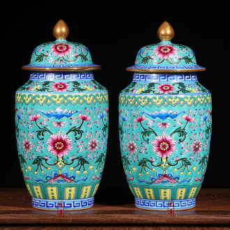 Jingdezhen floret bottle furnishing articles antique hand-painted ceramic enamel pastel colored green lotus flower gift porcelain decoration