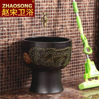 Chinese style of song dynasty porcelain Siamese mop pool large round mop pool one mop basin retro outdoor pool