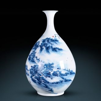 Jingdezhen ceramics famous hand-painted master Chinese blue and white porcelain vase furnishing articles household adornment handicraft sitting room