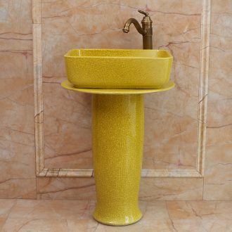 Ceramic one pillar basin of small family toilet lavatory floor stage basin sink the balcony of the basin that wash a face