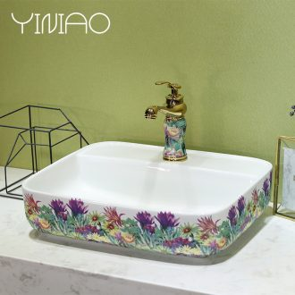 Million birds modern stage basin small rectangle ceramic art basin health plate of Europe type lavatory basin that wash a face to wash your hands