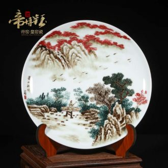 Jingdezhen famous landscape hand-painted ceramics porcelain hang dish plate sitting room adornment is placed a housewarming gift