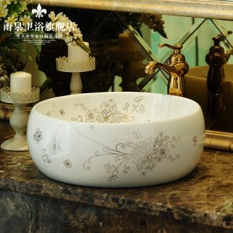 Jingdezhen rain spring bath on the ceramic POTS art basin flower waist drum basin bathroom sink