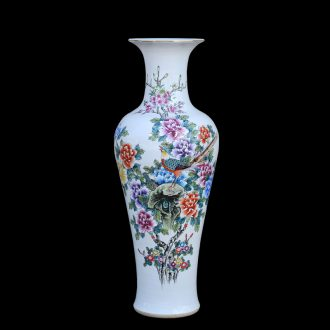 Jingdezhen ceramic vases, antique hand-painted pastel peony flower goddess of mercy bottle of large vases, decorative furnishing articles