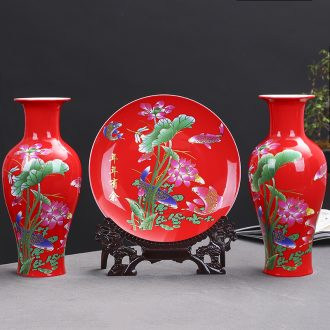 Jingdezhen ceramics red every year more than three-piece decorative plate of vases, flower arrangement sitting room adornment is placed