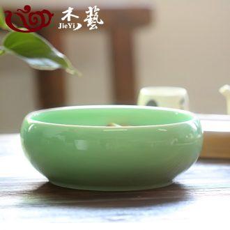 "Jie art tea tea set large 8 ""longquan celadon ceramic writing brush washer water wash dishes washed bowl of tea with zero wash cup"