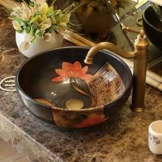 Jingdezhen ceramic stage basin round art hotel lavabo European archaize bathroom sinks