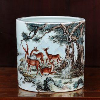 Jingdezhen ceramics imitation qing qianlong pastel 13 lu brush pot vase household craft sitting room adornment furnishing articles