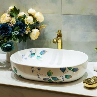 Koh larn, qi ceramic sanitary ware of toilet stage basin sink toilet lavatory basin hand-painted green leaf
