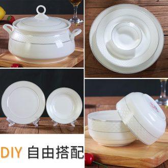 Rainbow noodle bowl soup bowl spoon combination Korean dishes suit household jingdezhen ceramics contracted eat bowl dish dishes