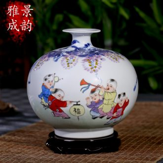 Jingdezhen ceramics vase hand-painted creative contemporary and contracted home sitting room floor furnishing articles handicraft ornament