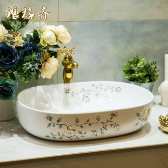 Koh larn, qi ceramic sanitary ware of toilet stage basin sink toilet lavatory basin hand-painted gold orchid flowers