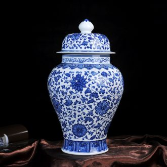 Antique vase of blue and white porcelain of jingdezhen ceramics bound lotus flower general home decoration craft furnishing articles in the living room