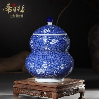 Antique hand-painted porcelain of jingdezhen ceramics ice plum gourd can save tea tea house furnishing articles pure manual pull embryo