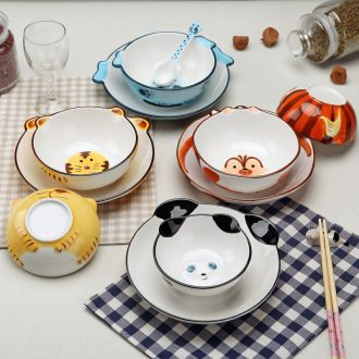 Jingdezhen dishes suit Korean creative contracted hand-painted tableware children lovely home 4 only eat rice bowls