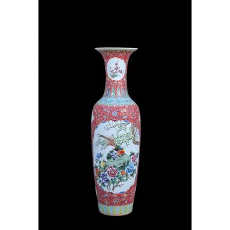 Jingdezhen ceramic vases, antique hand-painted famille rose red to open the window charactizing a landing of large vase