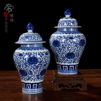 Jingdezhen ceramic vase furnishing articles antique hand-painted general blue and white porcelain jar retro floret bottle of flower porcelain decoration