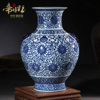 Jingdezhen ceramics imitation qing qianlong blue tie up lotus flower sweet Chinese style household wealth vase and furnishing articles ornament