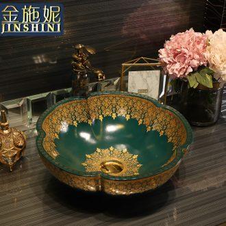 Gold cellnique continental basin on the ceramic bowl green water basin sink art Jin Wen pear haitang