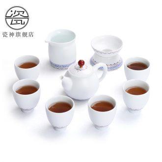 Porcelain god gift boxes of a complete set of matte ethnic wind household ceramics kung fu tea set suit white porcelain teapot teacup contracted