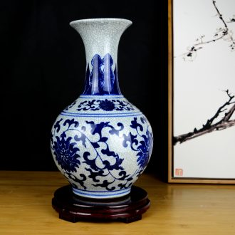 Jingdezhen ceramics archaize open a piece of blue and white porcelain vase China wind household flower arrangement sitting room adornment is placed
