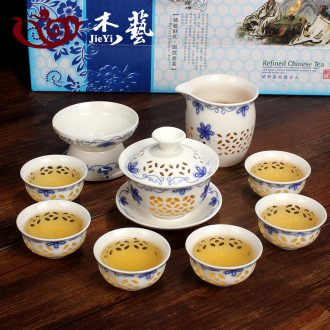 Jay blue and white and exquisite tea sets with gift box thin foetus ceramic art kung fu tea set hollow out of a complete set of tea cups tureen