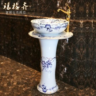 Koh larn, qi continental basin pillar three-piece set of ceramic art basin pillar lavatory basin morning glory