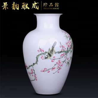 Jingdezhen ceramic hand-painted plum flower decoration vase furnishing articles of Chinese style living room TV cabinet process furnishings porcelain