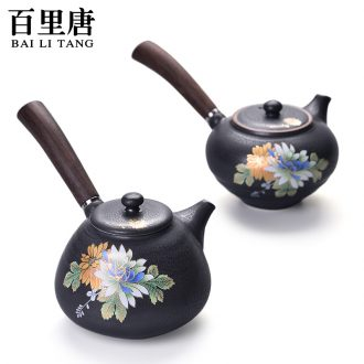 In tang dynasty kiln stereo on flower tea Japanese ceramic teapot kung fu tea set side put the pot of tea to single pot