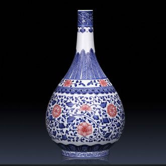Jingdezhen ceramics creative manual imitation kangxi blue and white porcelain vases, new Chinese style sitting room adornment is placed