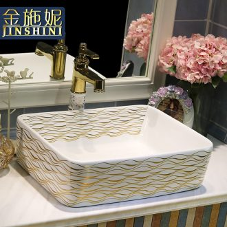 Gold cellnique rectangle lavabo ceramic art basin sink bathroom washs a face plate of all rivers run into sea