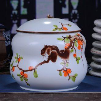 Jingdezhen ceramics hand-painted tea cake box general large puer tea cake tin white tea cake box