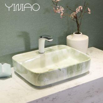 Jingdezhen art lavatory modern green marble basin bathroom sink basin stage basin
