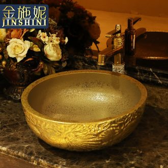Gold cellnique stage basin circular jingdezhen ceramic lavatory toilet lavabo modern European sculpture gentoo