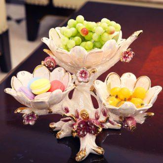 European ceramic creative dry fruit tray, fruit bowls contemporary sitting room tea table three tray furnishing articles wedding gift