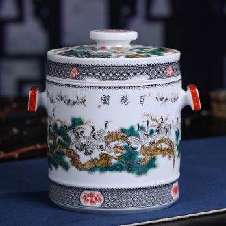 Jingdezhen ceramic hand-painted restoring ancient ways the crane figure caddy household Er tea tea cake box sealed cans