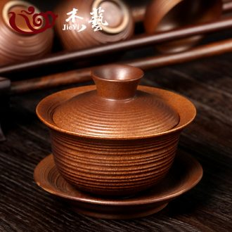 Jade art Japanese restore ancient ways to burn only coarse pottery tureen three bowls of archaize work hand in hand bowl to bowl ceramic tea set