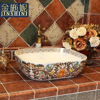 Gold cellnique jingdezhen ceramic lavabo that defend bath lavatory basin hand basin stage art rectangular center of the earth