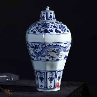 Jingdezhen ceramics antique hand-painted Ming yuan blue and white porcelain dragon vase sitting room home furnishing articles