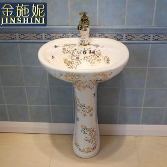 Gold cellnique art pillar basin ceramic lavatory basin contracted STDS hand one-piece modern flowers and birds