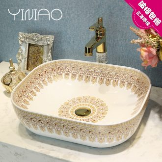 Jingdezhen ceramic stage basin sink contracted fashion art continental basin of the basin that wash a face numerous wreath