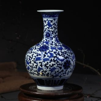 Jingdezhen ceramic vases, flower receptacle furnishing articles yongzheng antique blue and white porcelain bottle home fashionable sitting room adornment