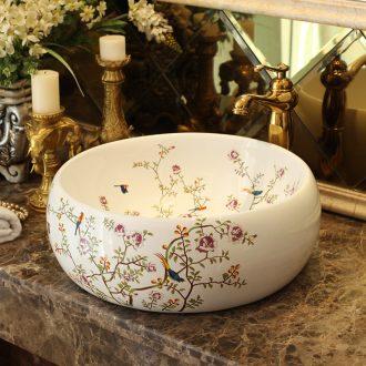 Spring rain on the ceramic basin to waist drum circle art fashion simple bathroom basin hotel the sink basin